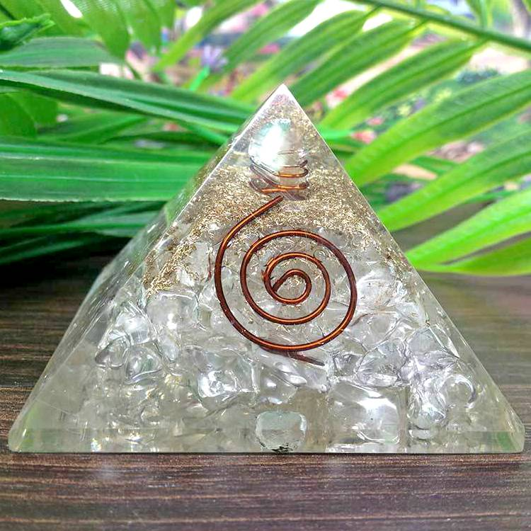 Orgonite Clear Quartz All Chakra Pyramid